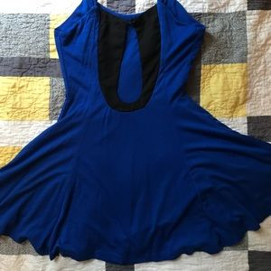 Royal blue twirly mini dress w/ keyhole back